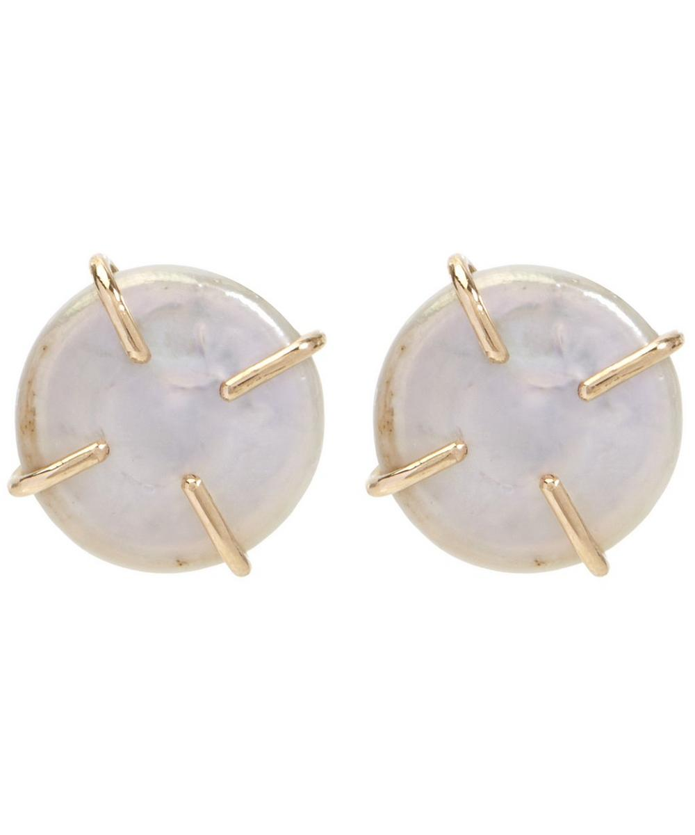 Gold American Cultured Pearl Post Earrings
