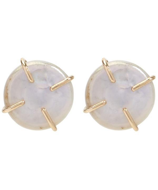 Gold American Cultured Pearl Post Earrings