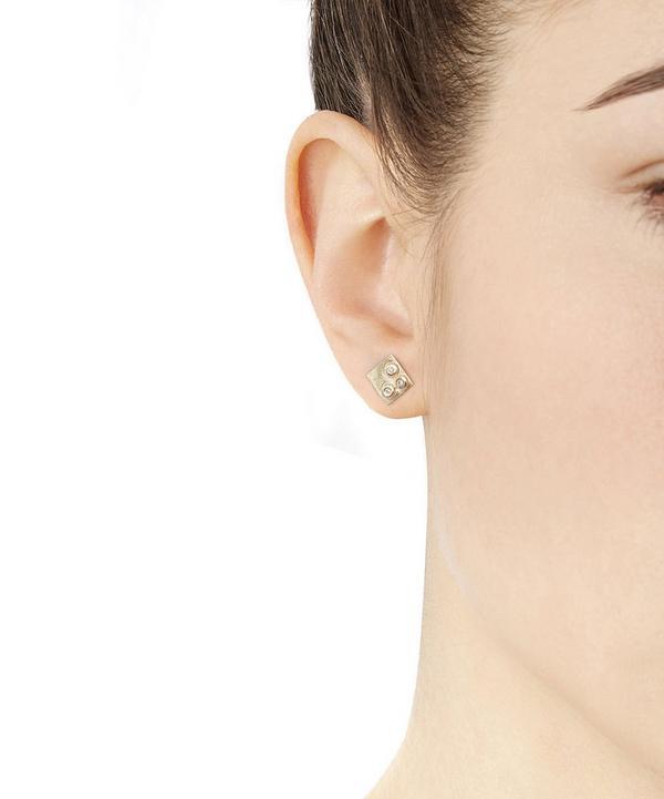 Gold Square Triple Diamond Earrings