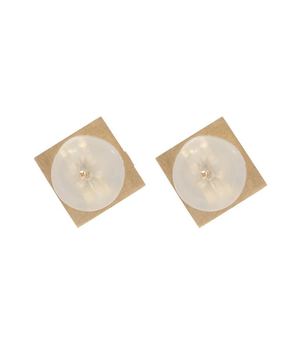 Gold Square Triple Diamond Earrings