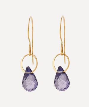 Gold Single Iolite Drop Earrings