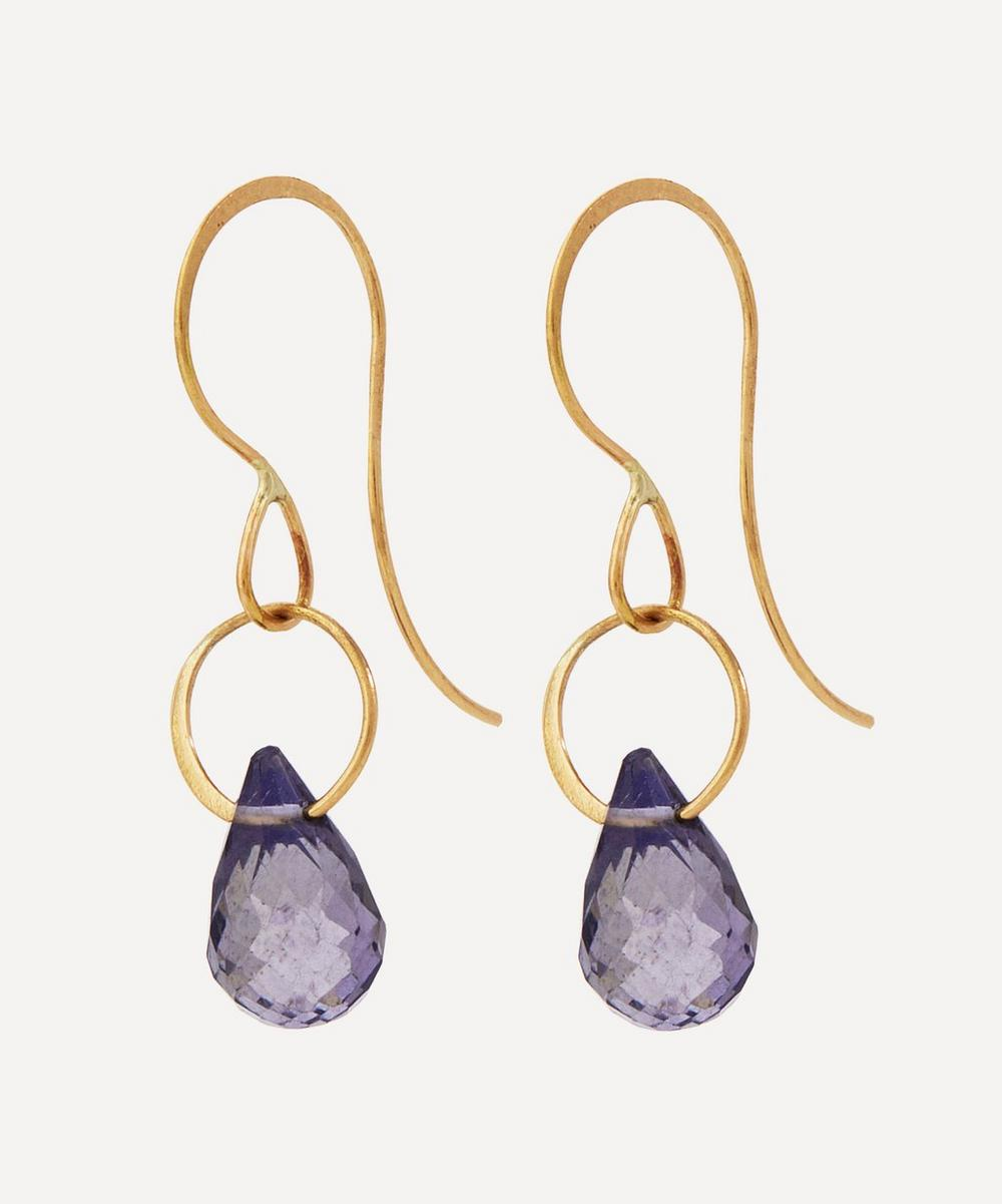 Gold Single Iolite Drop Earrings