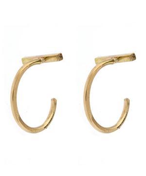 Gold Bar Hug Hoop Earrings