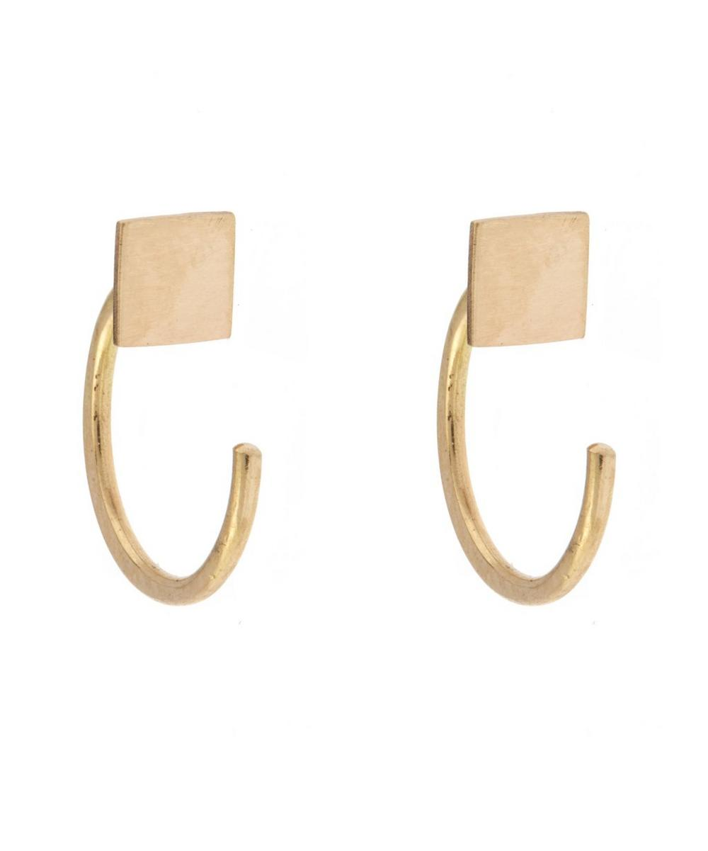 Gold Square Hug Hoop Earrings