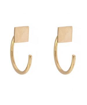 Gold Square Hug Hoop Earrings