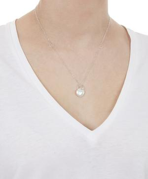 Sterling Silver White Topaz and Keshi Pearl Drop Necklace