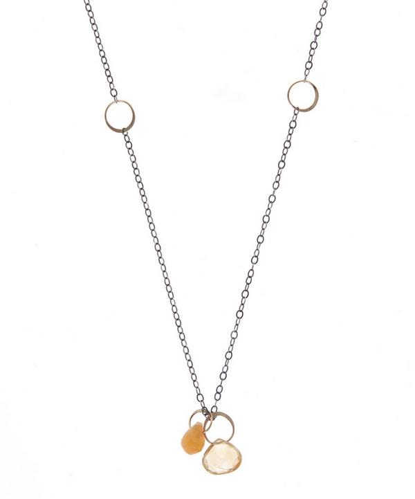 Gold Botswana Agate and Citrine Drop Necklace