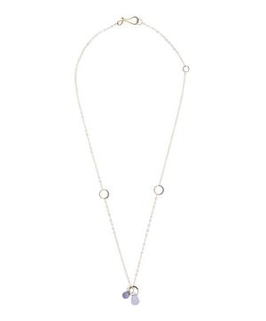 Gold Iolite and Blue Chalcedony Drop Necklace