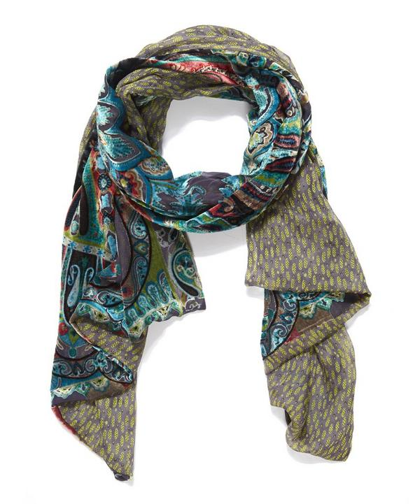 Delhi Paisley Printed Devore Evening Scarf