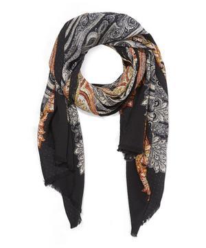 Delhi Paisley Printed Silk Scarf
