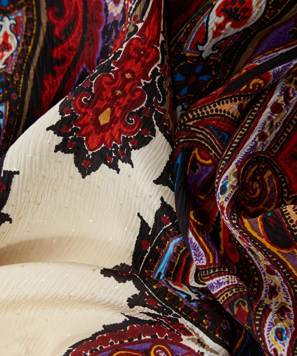 Delhi Paisley Crinkle Jacquard Silk Shawl