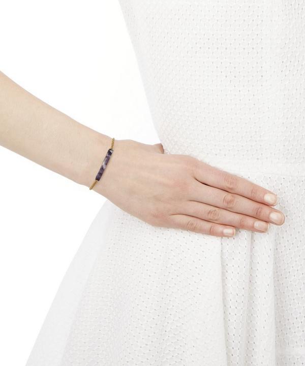 Gold Linear Amethyst Stone Chain Bracelet