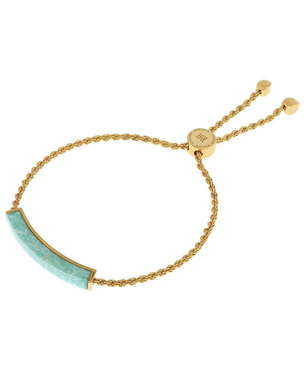 Gold-Plated Linear Amazonite Stone Chain Bracelet