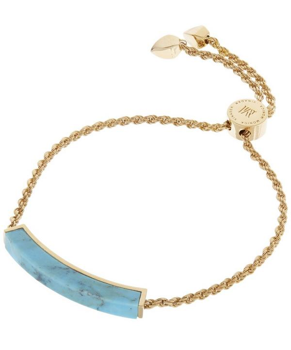 Gold-Plated Linear Turquoise Stone Bracelet