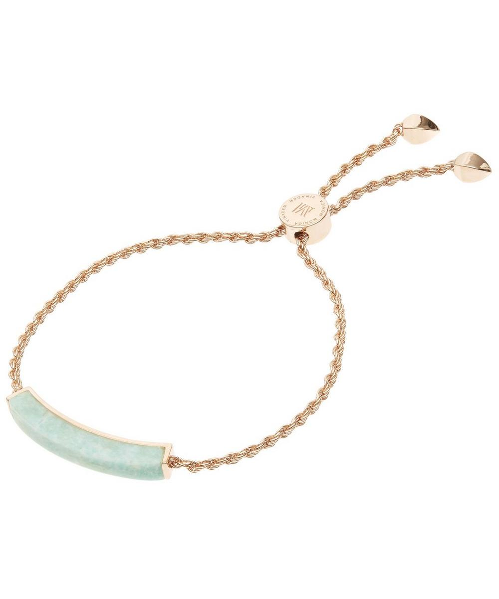 Rose Gold-Plated Linear Amazonite Stone Bracelet