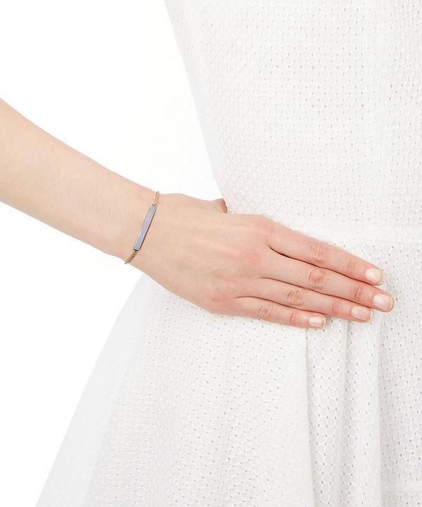 Rose Gold Blue Agate Linear Stone Bracelet