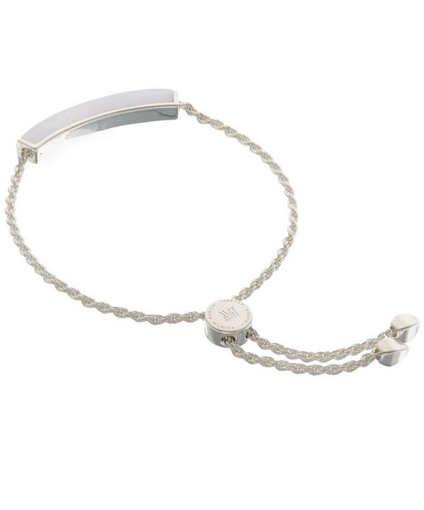 Silver Linear Blue Lace Agate Stone Bracelet