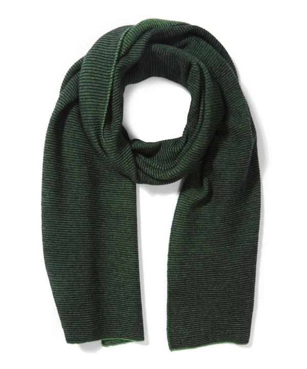 Fine Ribbed Garter Stitch Lambswool Scarf