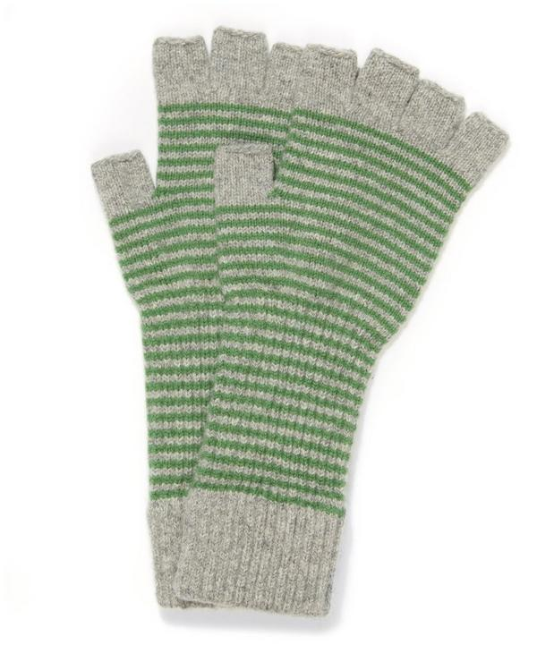 Fine Stripe Lambswool Fingerless Gloves
