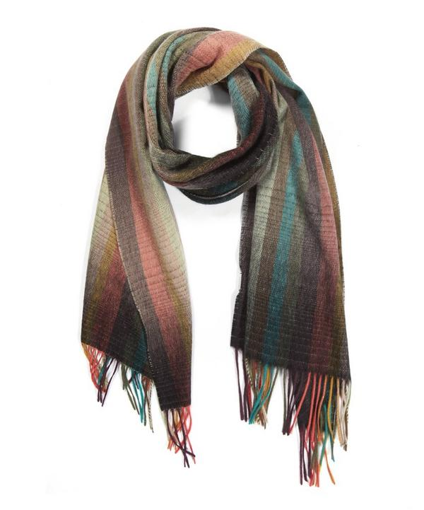 Multistriped Cashmere Knitted Scarf