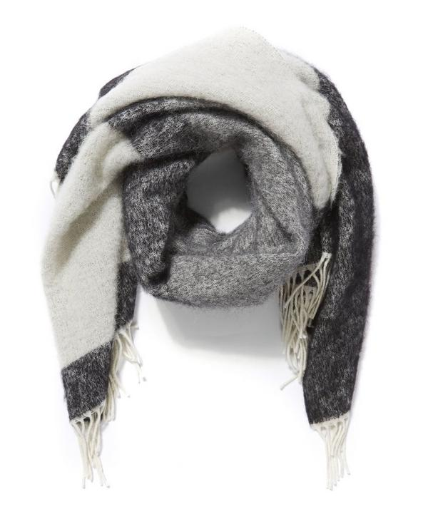 Fluffy Striped Knitted Scarf