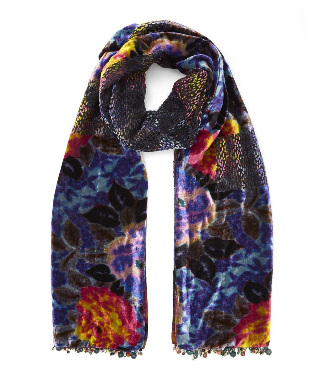 Bead Trimmed Floral Devore Evening Scarf