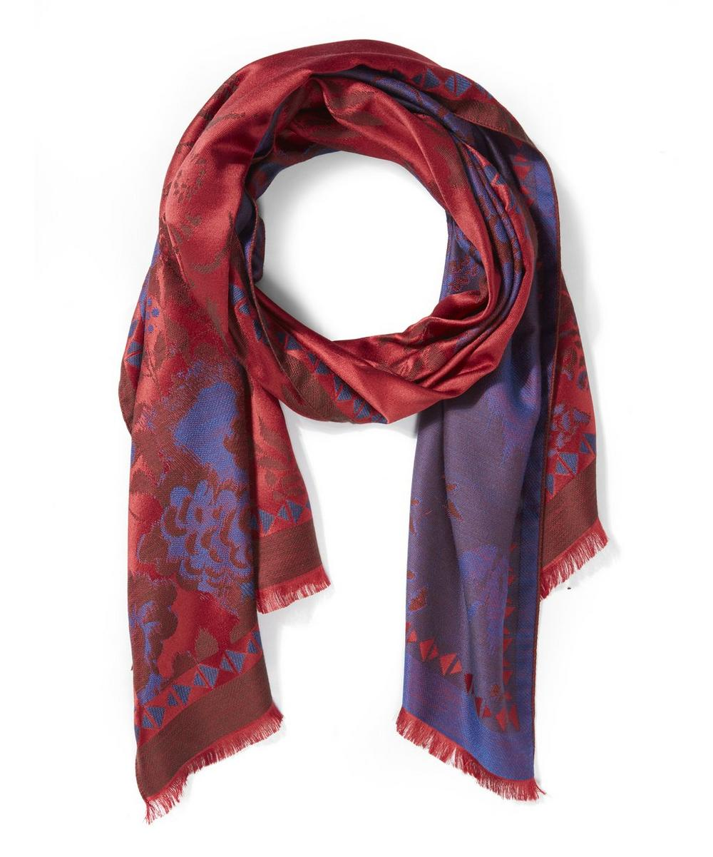 Floral Print Jacquard Scarf