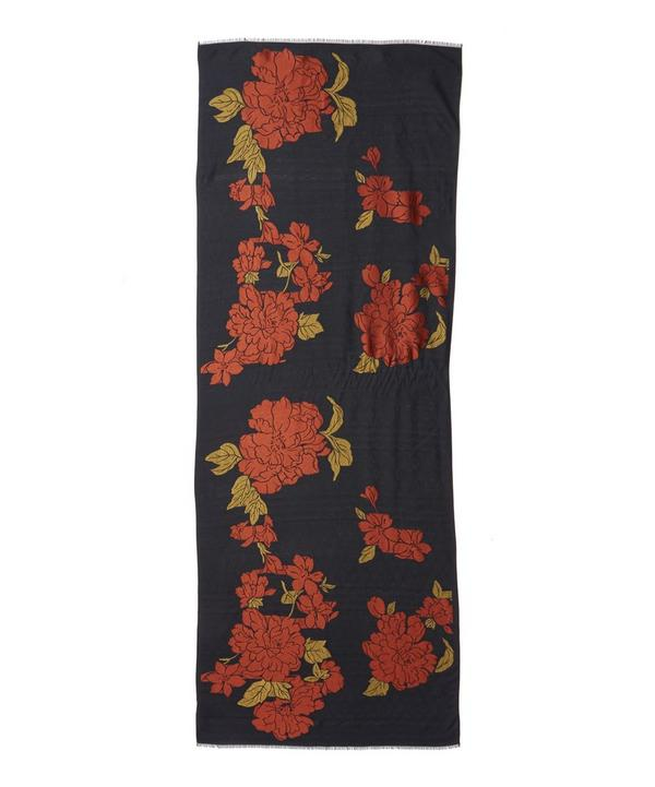 Floral Jacquard Silk-Wool Blend Scarf