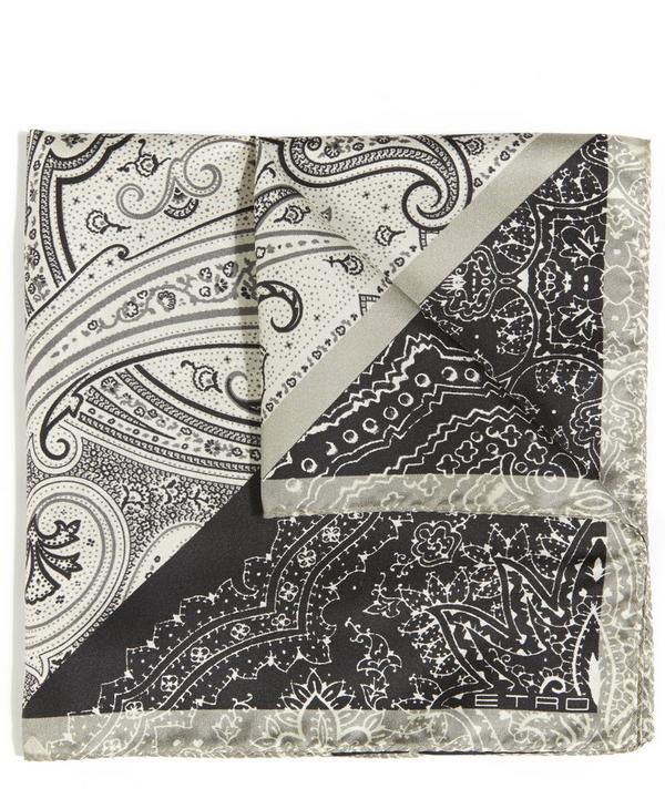 Etro Paisley and Triangle Printed Silk Pocket Square