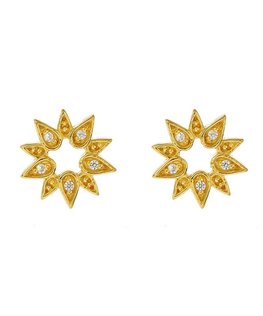 Gold-Plated Mini Sun Biography Stud Earrings