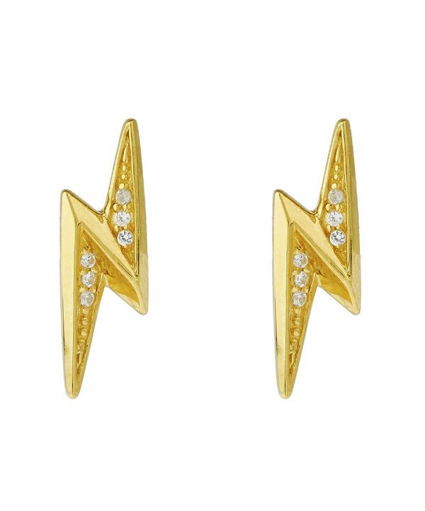 Gold-Plated Mini Lightening Bolt Stud Earrings