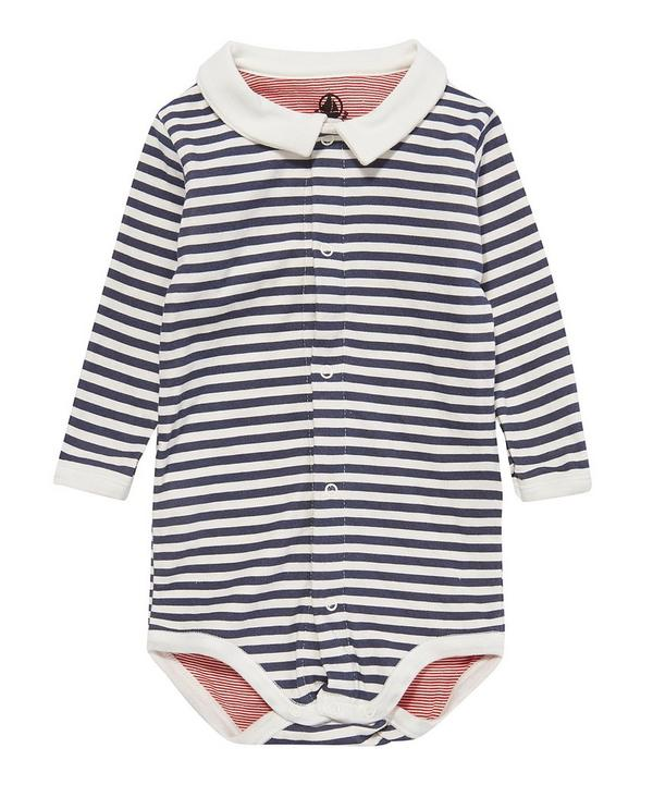 Collar Striped Bodysuit