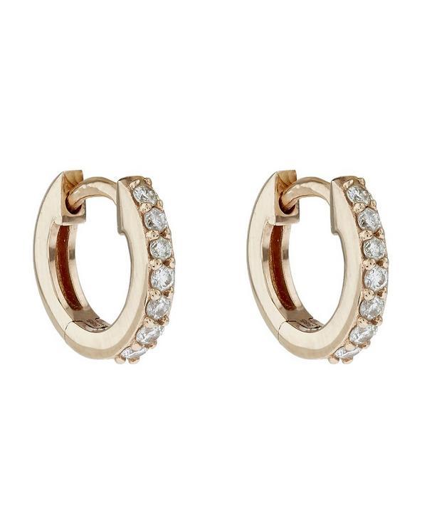 Rose Gold Mini Halo Diamond Hoop Earrings