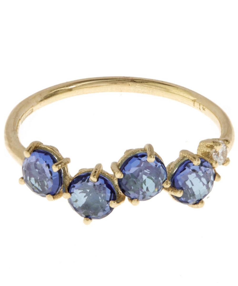 Gold English Blue Topaz Ring