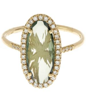 Gold Green Topaz and White Diamond Ring