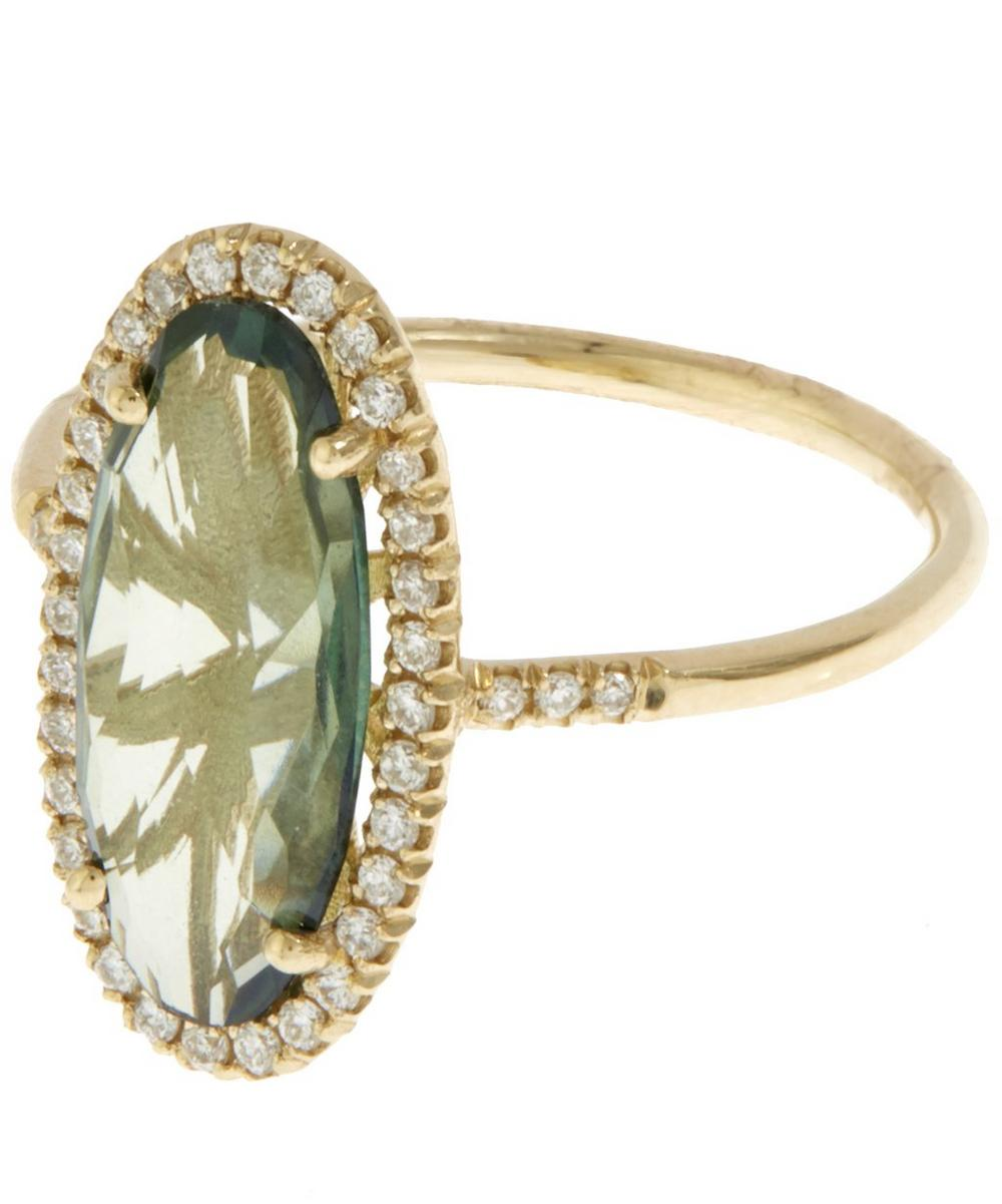 Gold Green Topaz and White Diamond Ring
