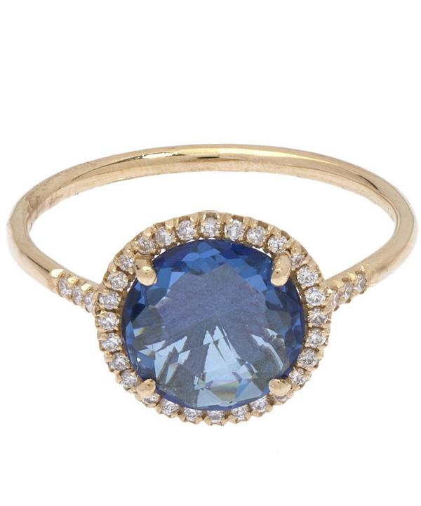 Gold Diamond and Topaz Ring