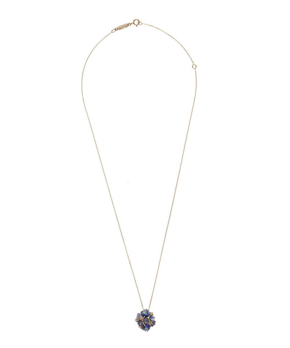Gold English Blue Topaz Necklace