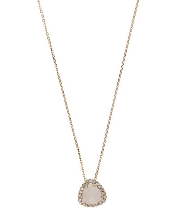 Gold White Moonstone and White Diamond Necklace