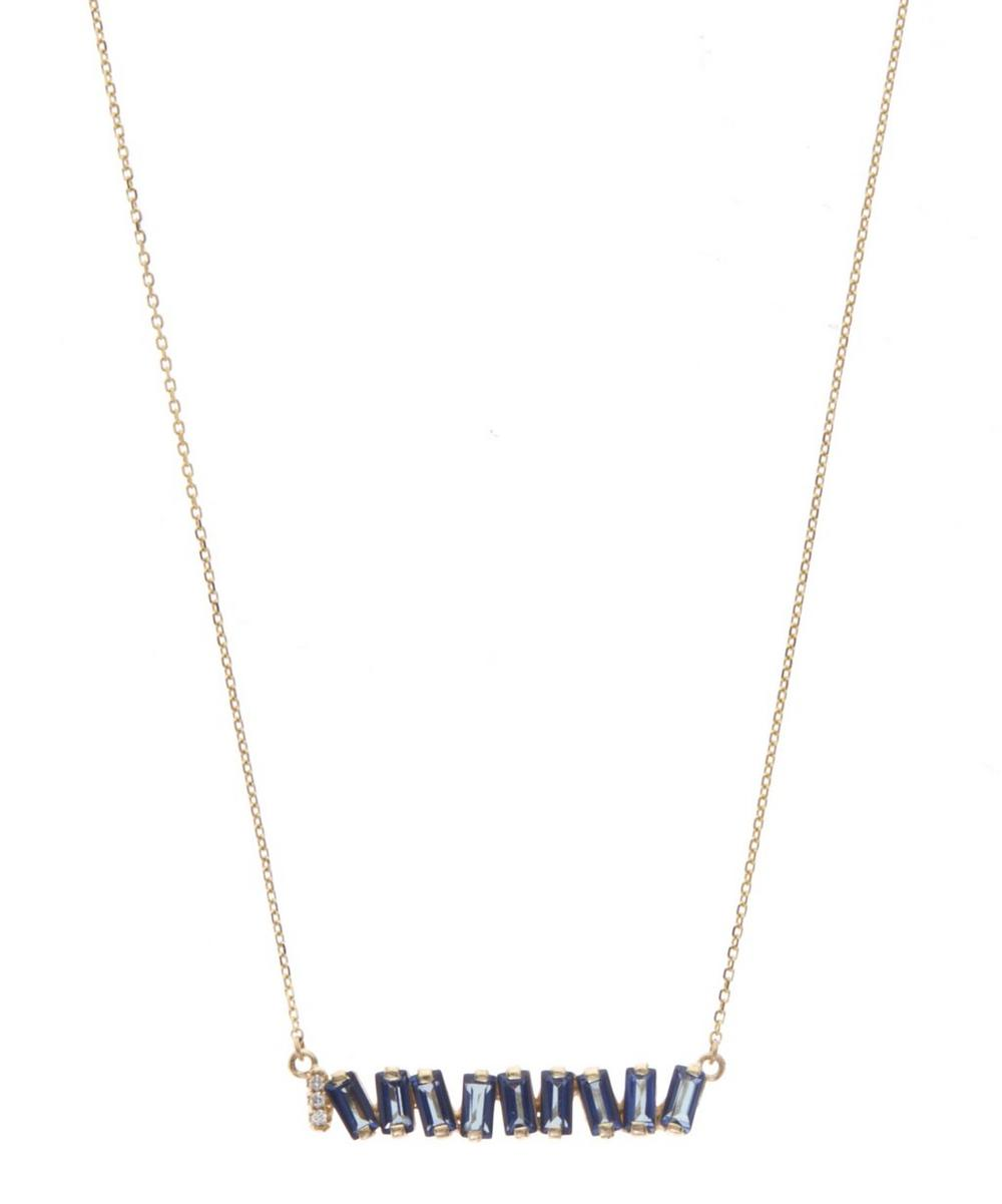 Gold White Diamond and English Blue Topaz Baguette Necklace