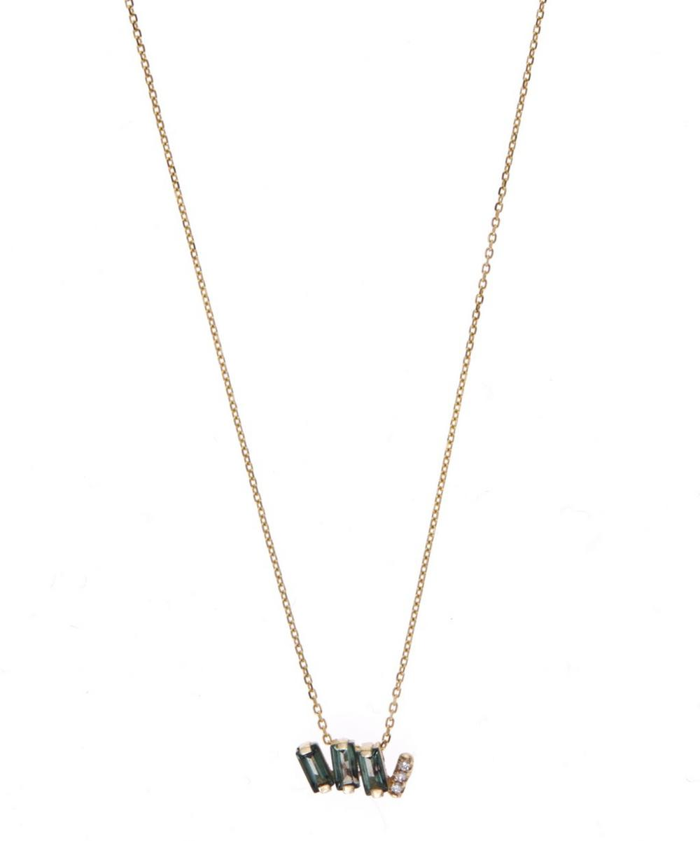 Gold White Diamond and Green Envy Topaz Baguette Necklace