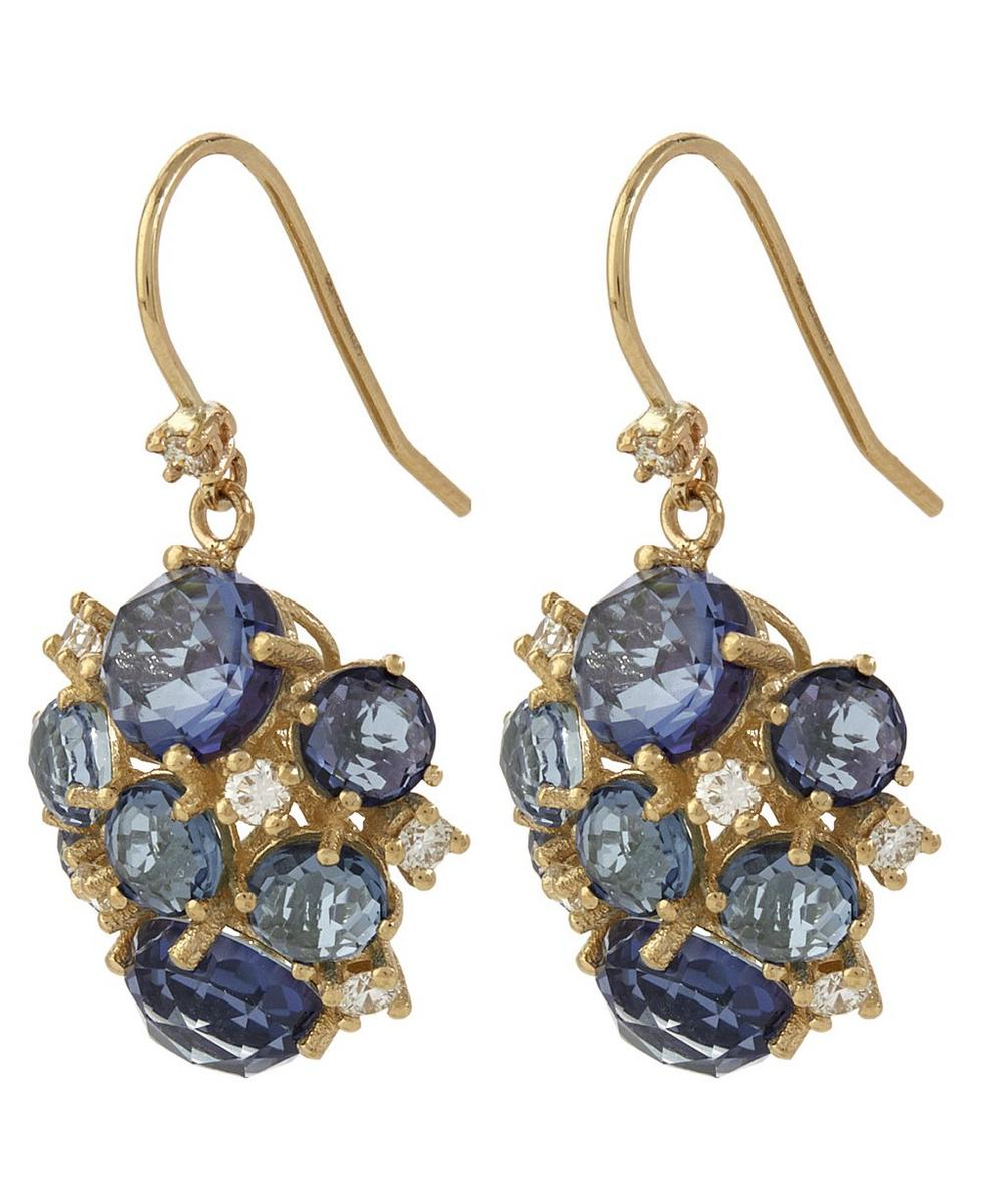 Gold English Blue Topaz Cluster Earrings