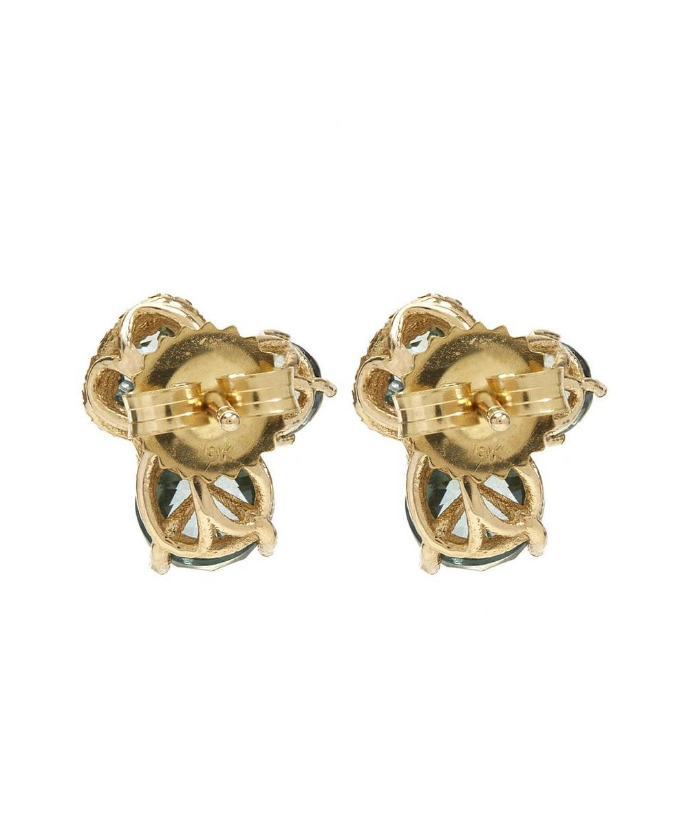 Gold White Diamond and Green Envy Topaz Earrings