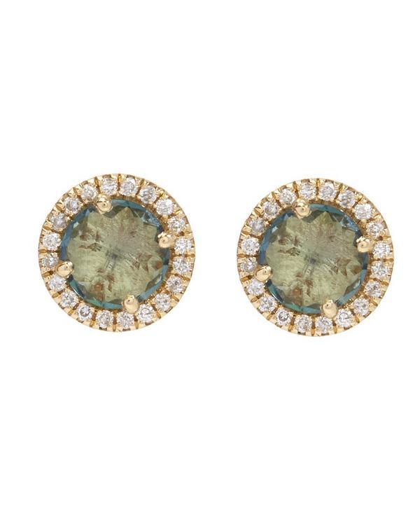 Gold Green Envy Topaz and White Diamond Earrings