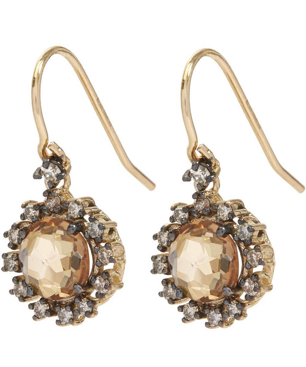 Gold Champagne Topaz and Champagne Diamond Earrings
