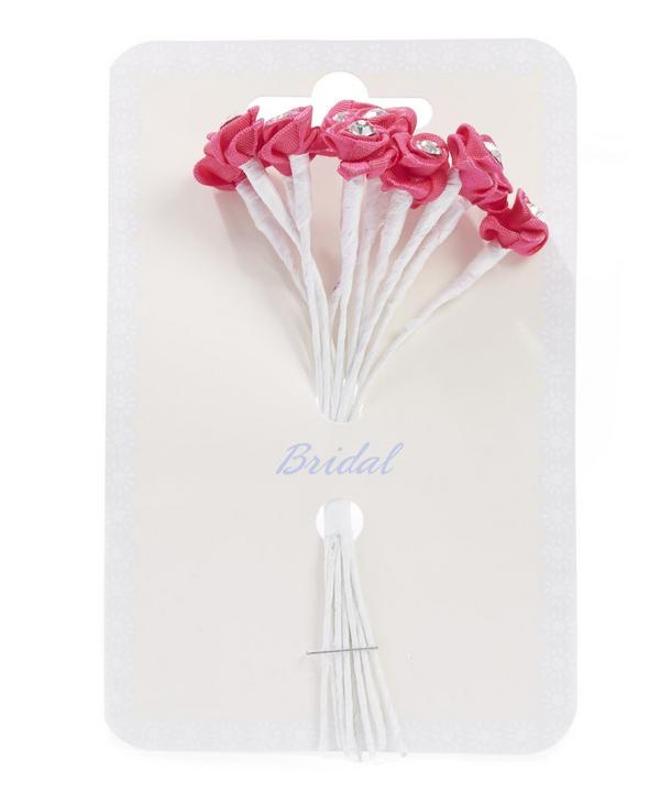 Bunch of 12 Decorative Diamante Ribbon Roses