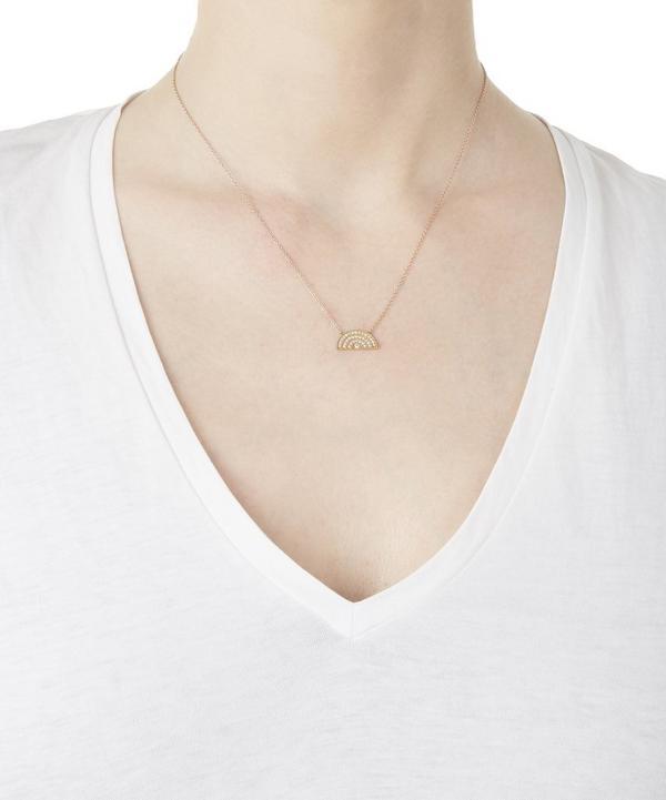 Rose Gold Rainbow White Diamond Necklace