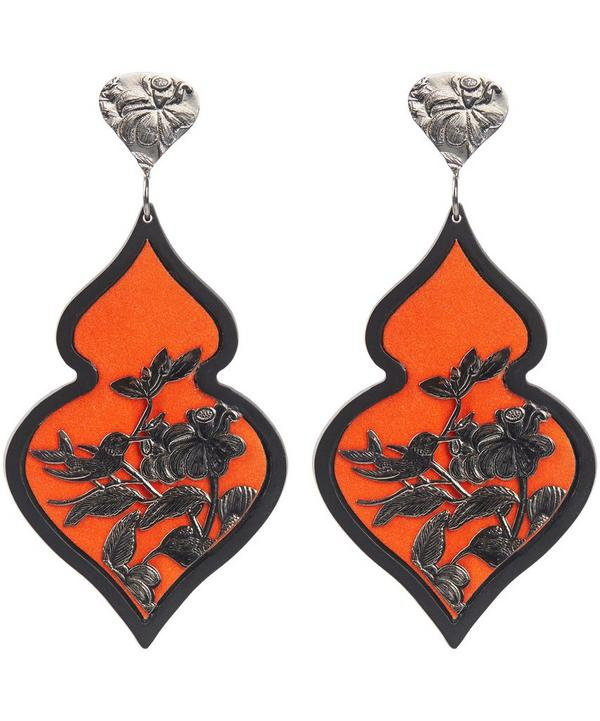 Silver Plated Rhodium Velvet Ornate Drop Earrings