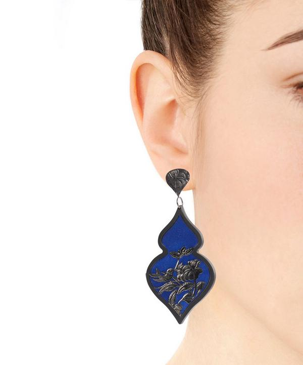Rhodium-Plated Silver Velvet Ornate Drop Earrings