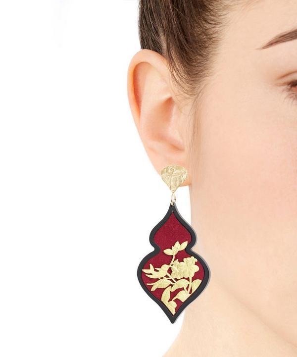 Gold-Plated Silver Velvet Ornate Drop Earrings